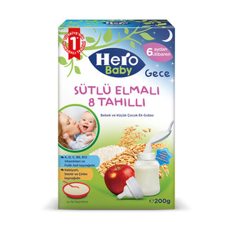 Hero Baby Sütlü 8 Tahıllı Elmalı Ek Besin 200 G