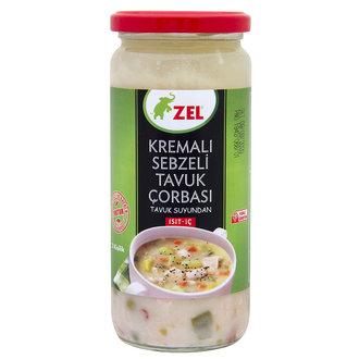 Zel Kremalı Sebzeli Tavuk Çorbası 480Ml Cam Kavanoz