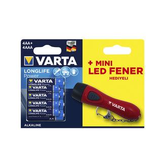 Varta High Energy Kalem Pil 4'Lü Aa + İnce Pil 4'Lü Aaa (Mini Led Fener Hediyeli Paket)